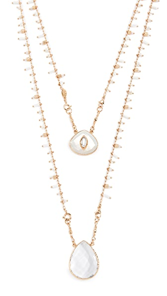 GAS Bijoux Collier Scapulaire Serti Necklace In Gold