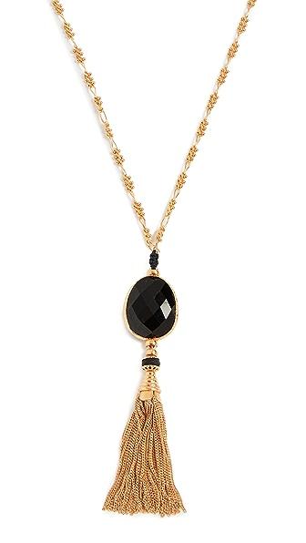 GAS Bijoux Sautoir Serti Pom Pom Necklace In Gold