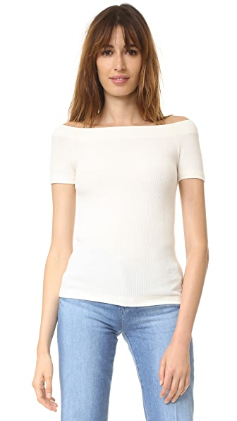GETTING BACK TO SQUARE ONE Off Shoulder Tee - Vanilla