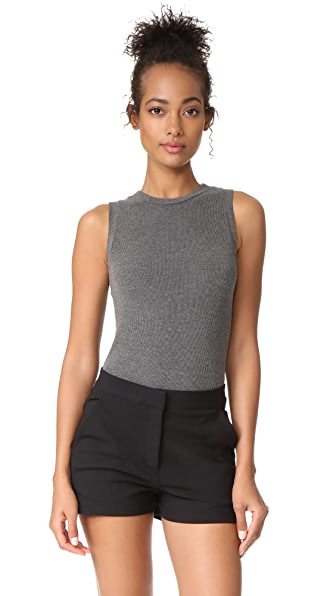 GETTING BACK TO SQUARE ONE The Sleeveless Bodysuit In Dark Grey Melange