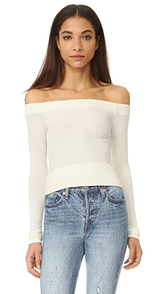 GETTING BACK TO SQUARE ONE Off Shoulder Long Sleeve Tee In Vanilla Ice