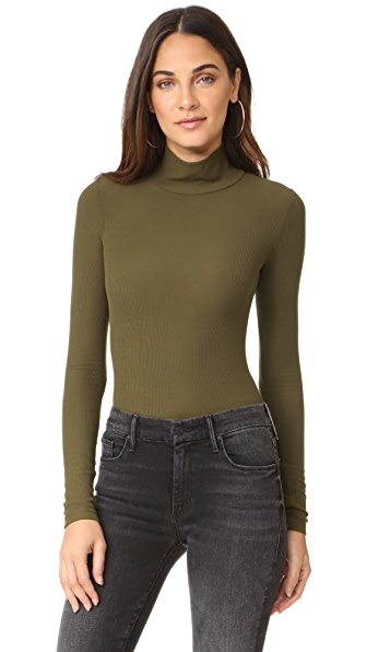 GETTING BACK TO SQUARE ONE Mock Neck Bodysuit In Olive