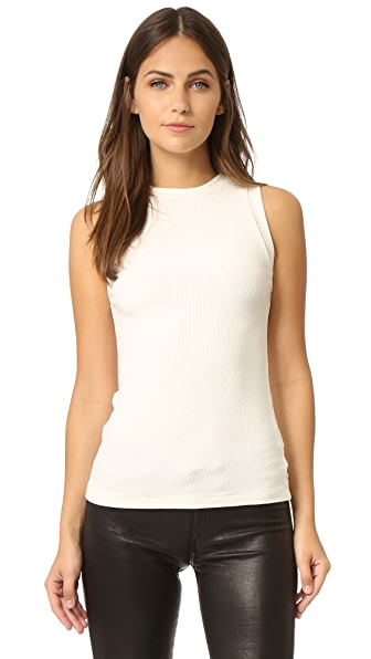 GETTING BACK TO SQUARE ONE Ribbed Muscle Tee In Vanilla Ice