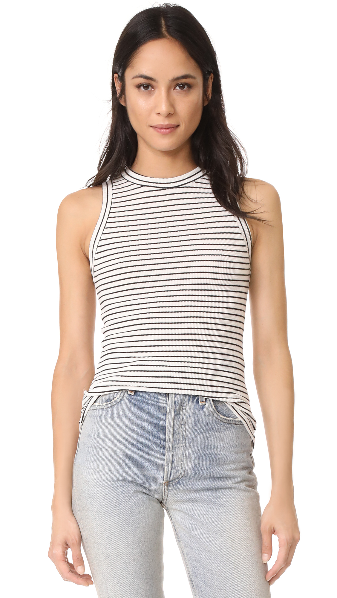 GETTING BACK TO SQUARE ONE The Rib Muscle Tee - Black/Vanilla Ice Stripe
