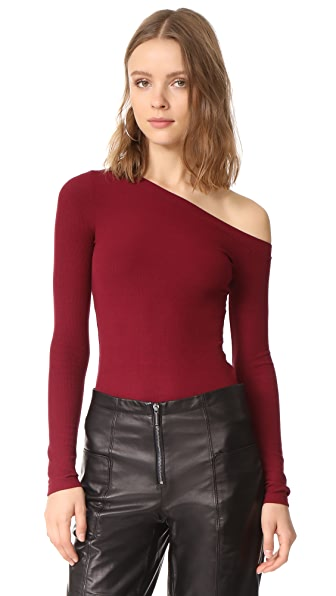 GETTING BACK TO SQUARE ONE One Shoulder Pullover In Vino