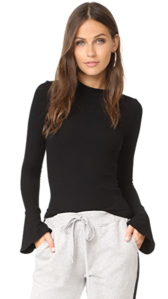 GETTING BACK TO SQUARE ONE Flare Cuff Top In Black