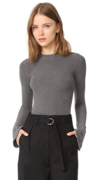 GETTING BACK TO SQUARE ONE Flare Cuff Top - Dark Grey Melange
