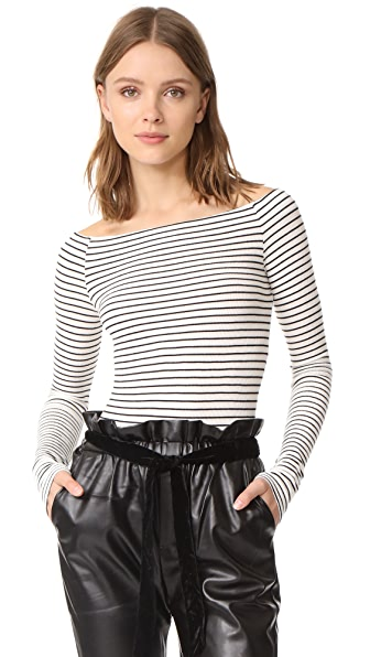 GETTING BACK TO SQUARE ONE Off Shoulder Top In Black/Vanilla Ice Stripe