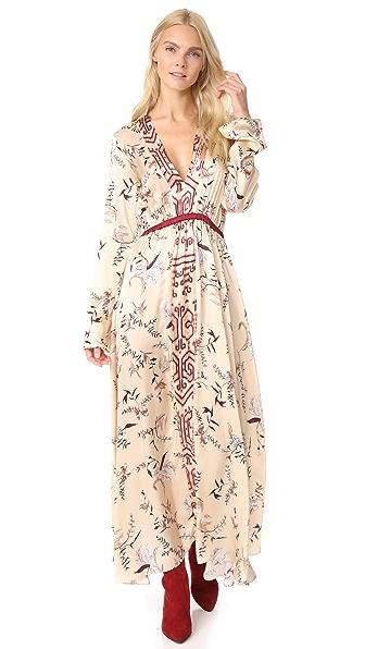 Giada Forte The Precious Garden Print Silk Dress In Cipria