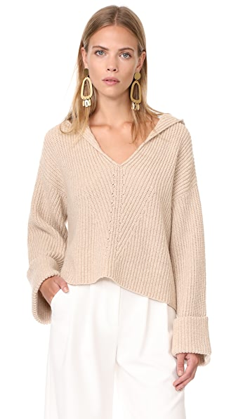 Giada Forte Wool English Knit Sweater with Hood In Avorio