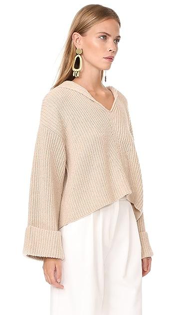 Giada Forte Wool English Knit Sweater with Hood