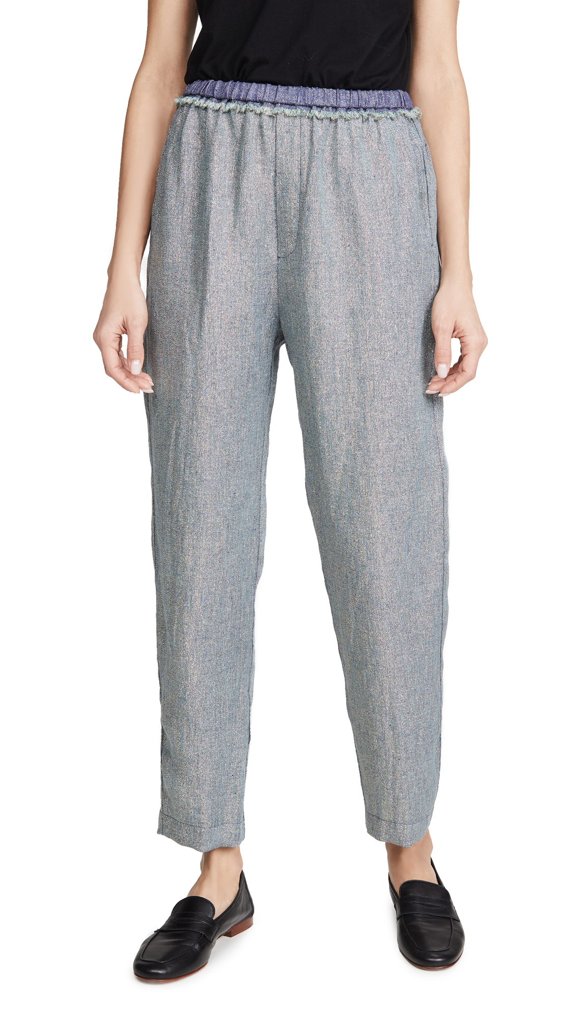Buy Forte Forte online - photo of Forte Forte Linen Metallic Diagonal Jogging Pants
