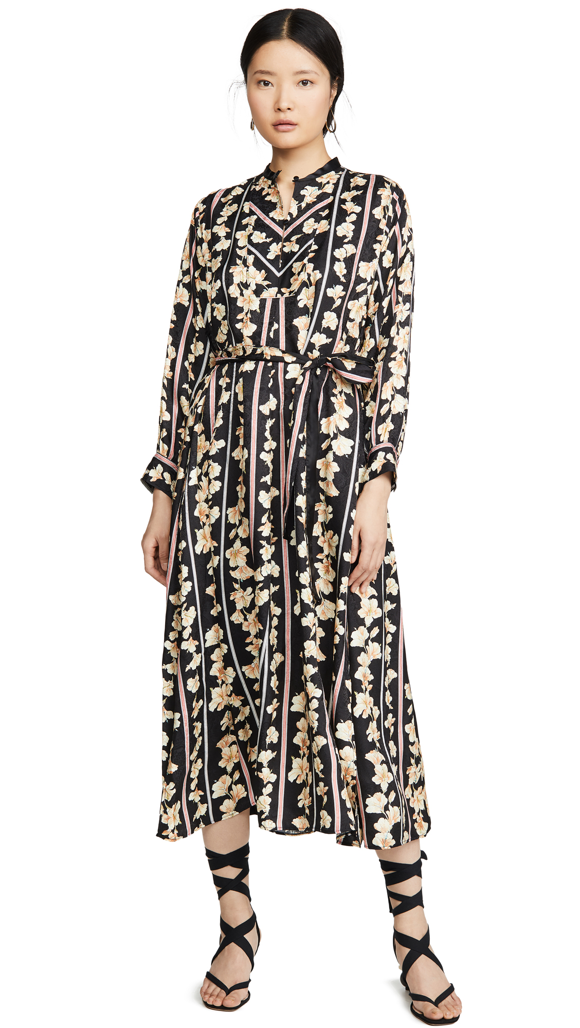 Forte Forte Guadaloupe Print Fluid Jacquard Belted Kaftan Dress – 40% Off Sale