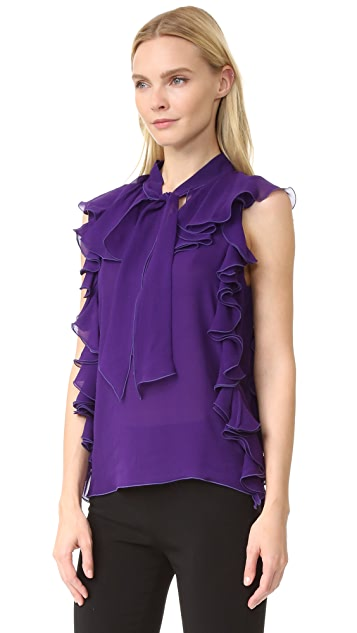 Giambattista Valli Sleeveless Ruffle Top
