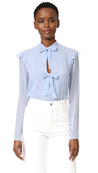 Giambattista Valli Tie Front Blouse - Light Blue