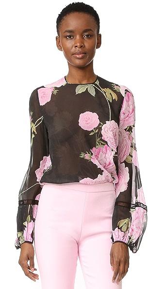 Giambattista Valli Long Sleeve Blouse - Black/Pink