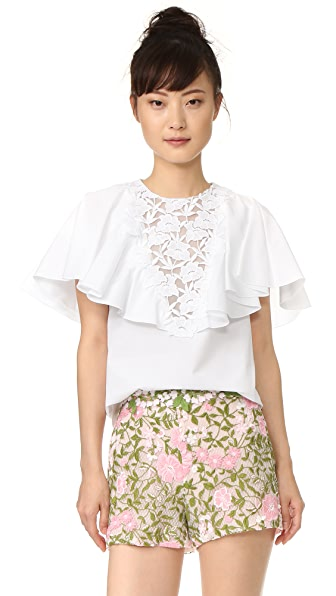 Giambattista Valli Ruffled Short Sleeve Blouse