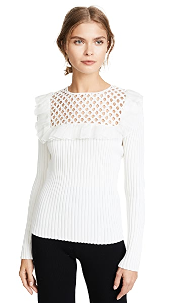Giambattista Valli Knit Top with Lace Insert In White