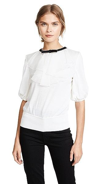 Giambattista Valli Cropped Knit Sweater In White