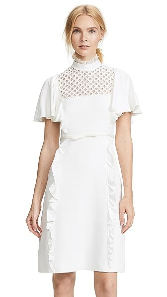 Giambattista Valli High Neck Ruffle Trim Dress In White