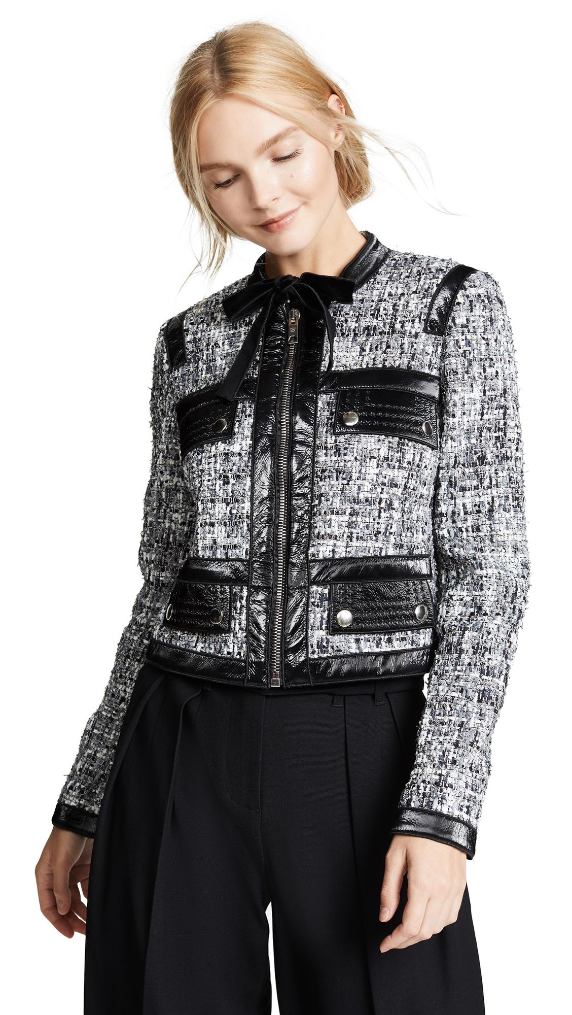 Giambattista Valli Leather Combo Tweed Jacket