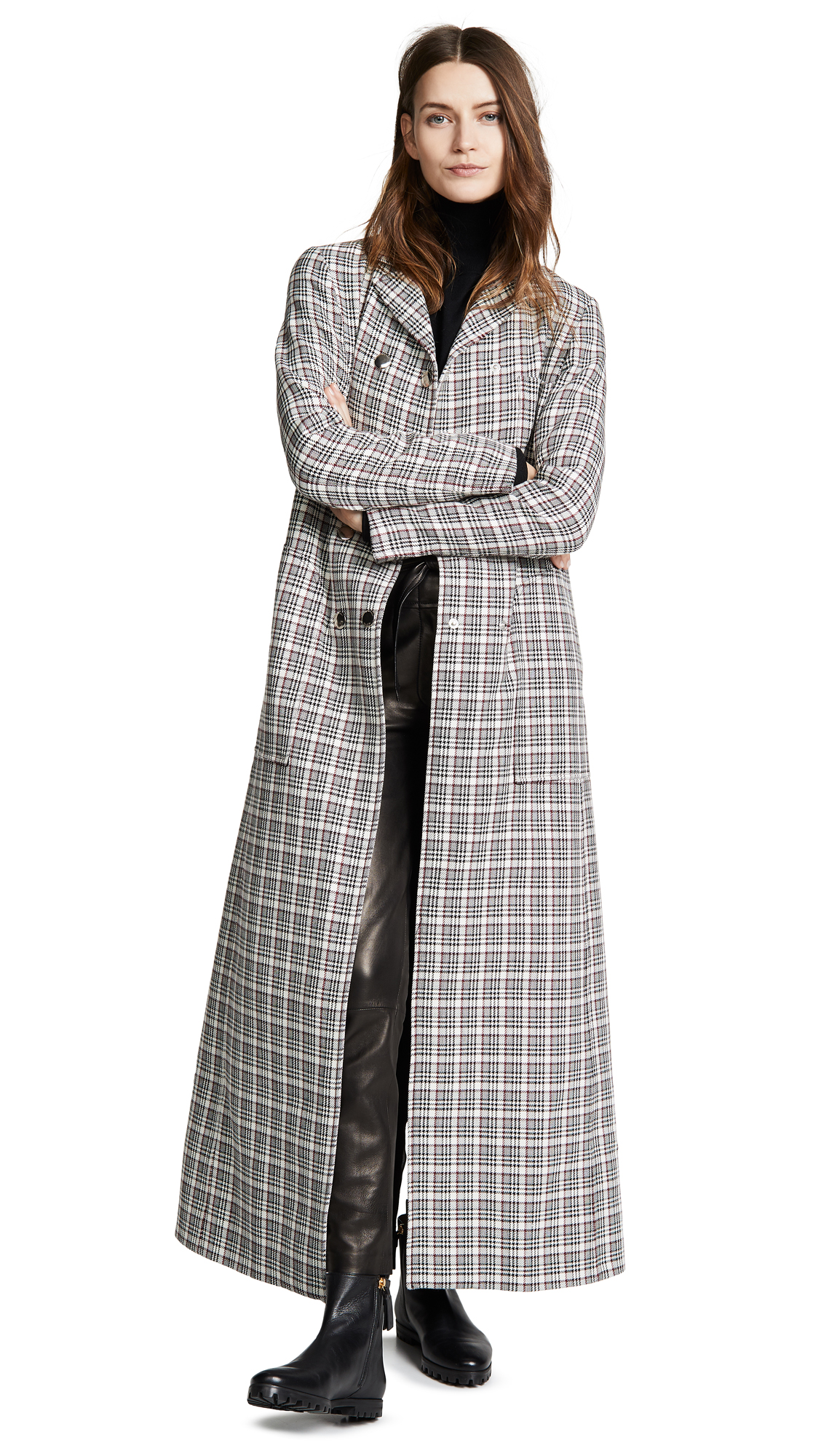 Giambattista Valli Plaid Long Wool Coat