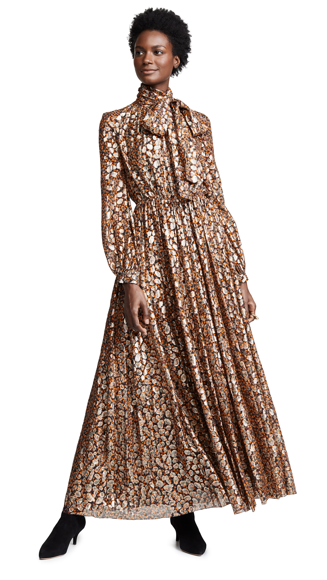 Giambattista Valli Pleated Dress In Rust