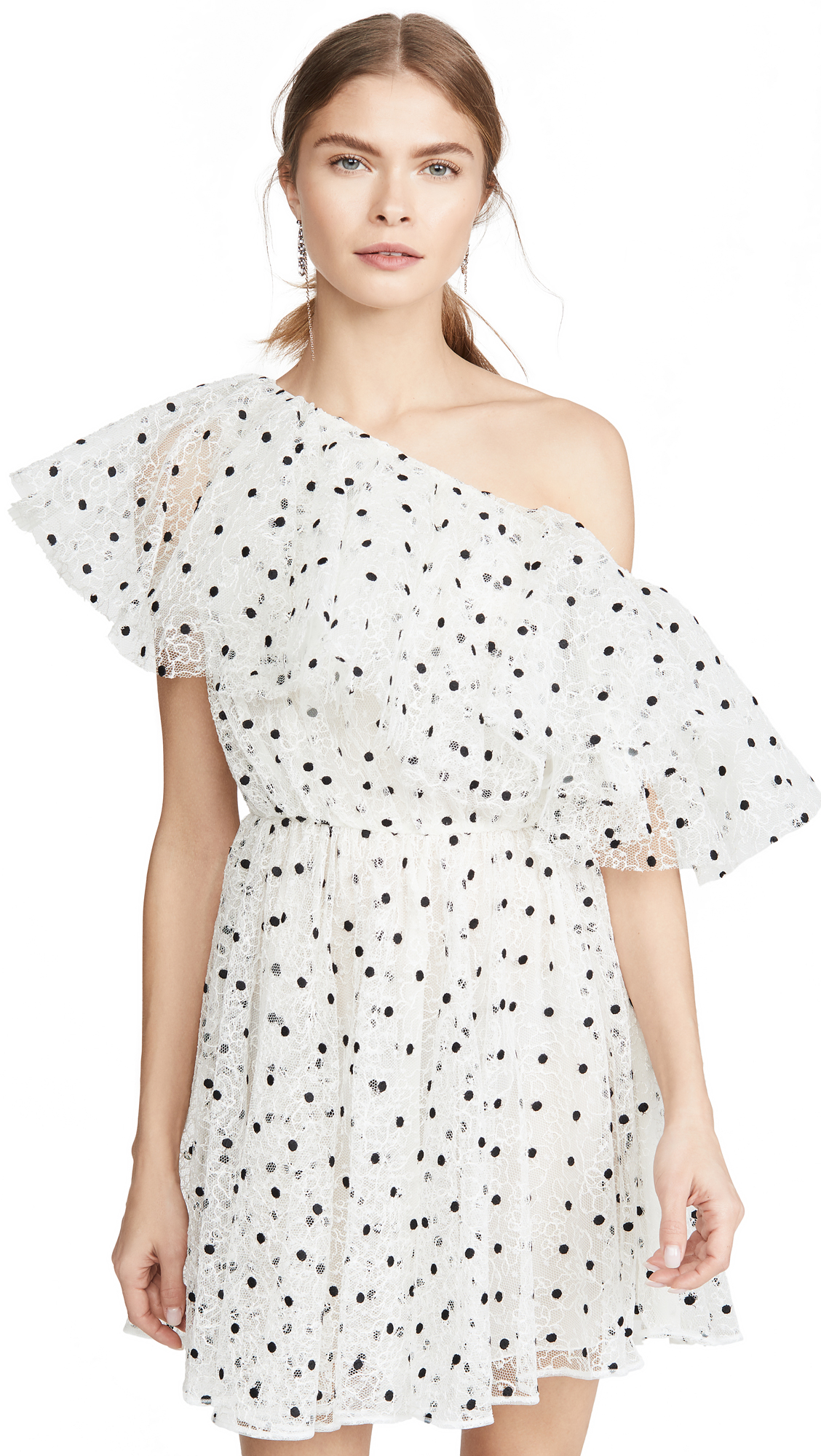 Giambattista Valli One Shoulder Tulle Polka Dot Mini Dress - 60% Off Sale