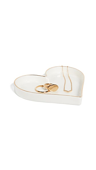 Gift Boutique Heart Trinket Tray In White