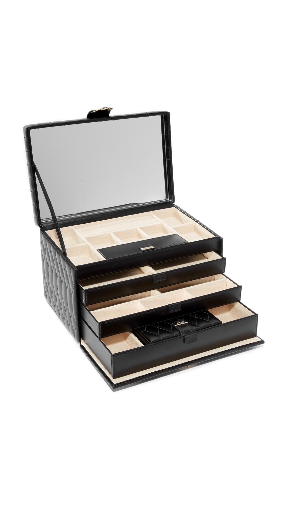 Gift Boutique WOLF Caroline Large Jewelry Case - Black