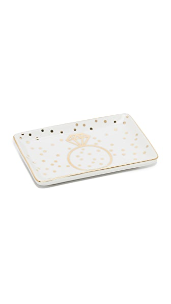 Gift Boutique Ring Trinket Tray - White/Gold