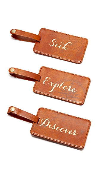 Gift Boutique Seek Explore Discover Luggage Tag Box Set - Tan