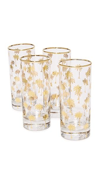 Gift Boutique Palm Tree Highball Glasses - Clear/Gold