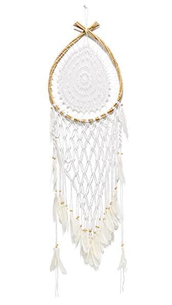 Gift Boutique Large Teardrop Net Dreamcatcher - White