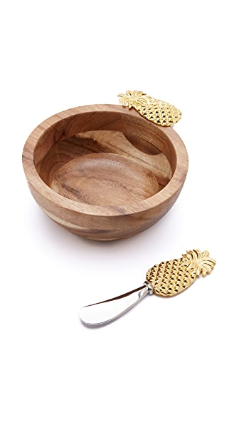 Gift Boutique Pineapple Bowl with Spreader