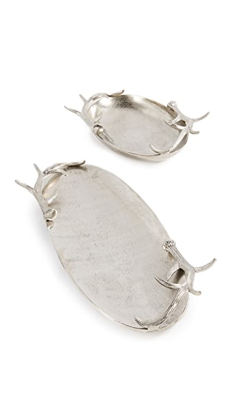 Gift Boutique Antler Decorative Tray Set of 2 In Silver