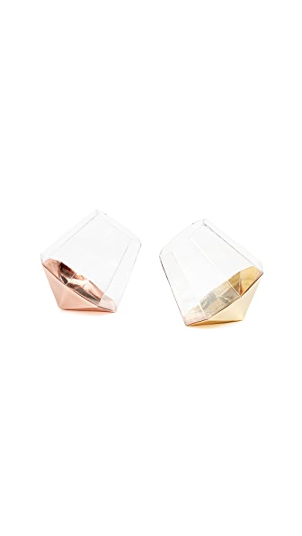 Gift Boutique Set of 2 Diamond Glasses In Gold/Rose