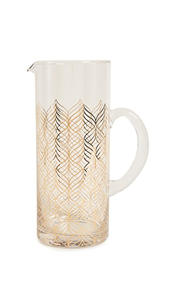 Gift Boutique Glass Serving Pitcher In Gold