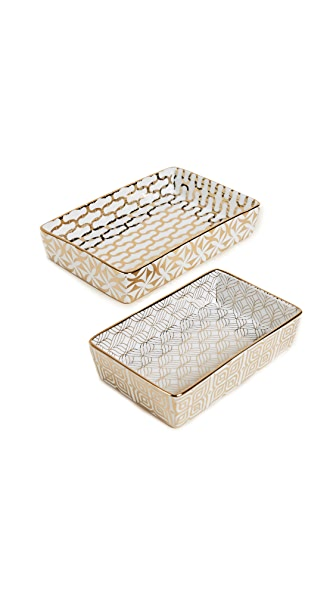 Gift Boutique Nesting Tray Set of Two In Gold