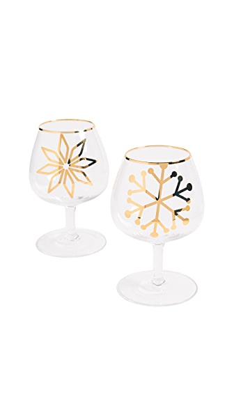 Gift Boutique Snowflake Glasses Set of Two In Clear/Gold