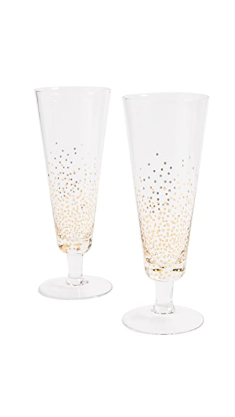 Gift Boutique Bubbly Champagne Glasses Set of Two In Clear/Gold