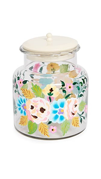 Gift Boutique Hand Painted Jar In White Multi