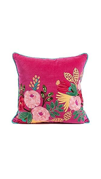 Gift Boutique Velvet Floral Pillow In Fuschia