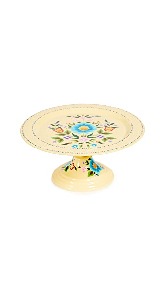 Gift Boutique Floral Cake Platter In Soft Yellow