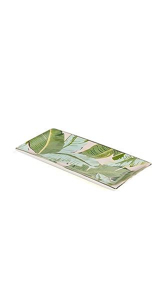 Gift Boutique Botanic Leaf Rectangle Trinket Tray In Pink Botanical Multi