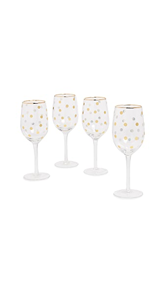 Gift Boutique Dot Wine Glass Set of 4 In Gold Dot