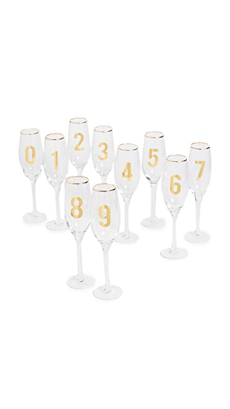 Gift Boutique Countdown Set of 10 Glasses In Clear/Gold