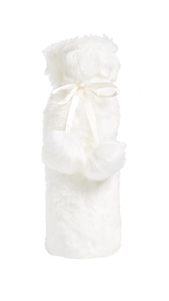 Gift Boutique Luxe Faux Fur Wine Bag In White