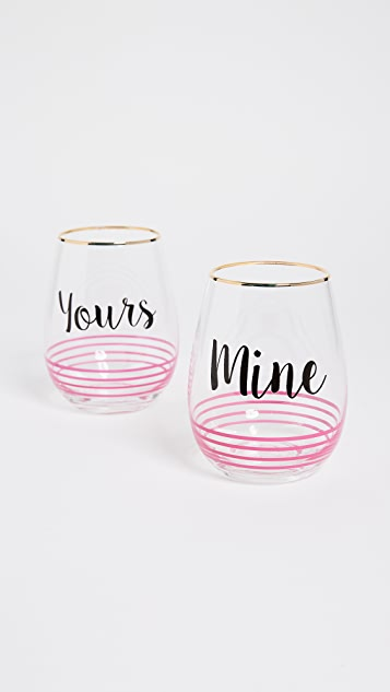 Gift Boutique Yours + Mine Wine Glass Set