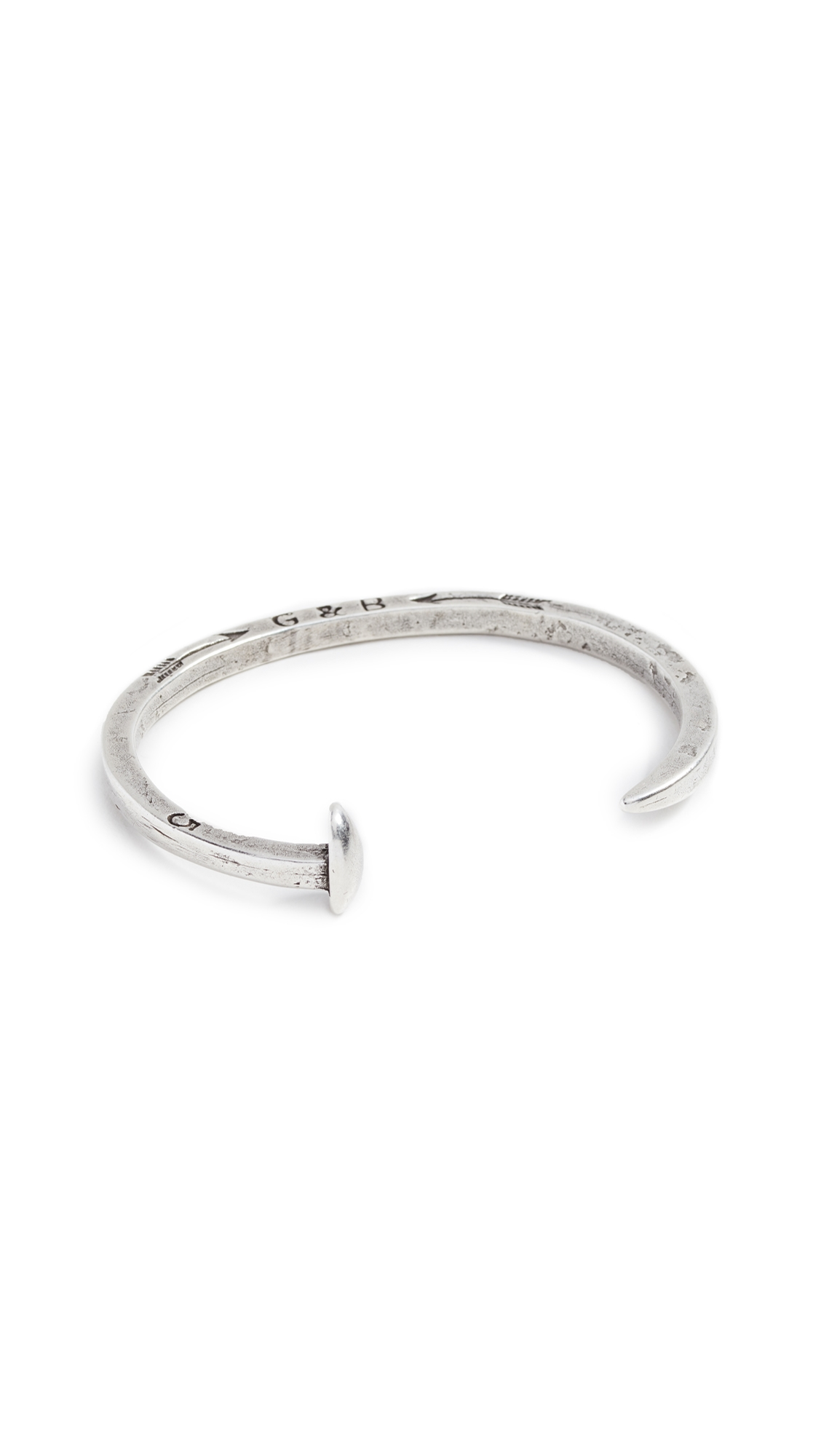 GILES & BROTHER Skinny Railroad Spike Cuff in Silver Oxide